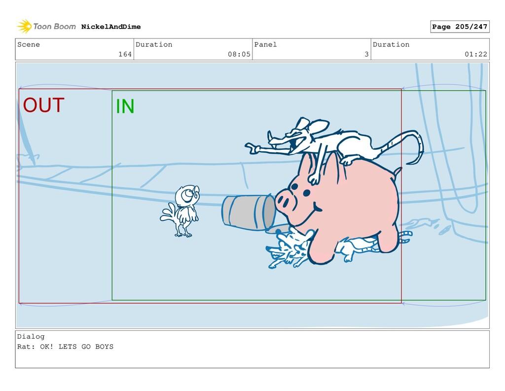 Scene 164 Duration 08:05 Panel 3 Duration 01:22...