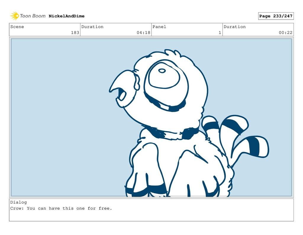 Scene 183 Duration 04:18 Panel 1 Duration 00:22...