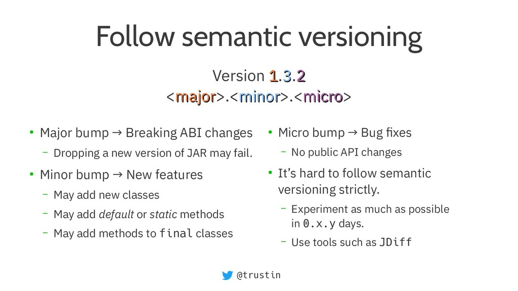 @trustin Follow semantic versioning ● Major bum...