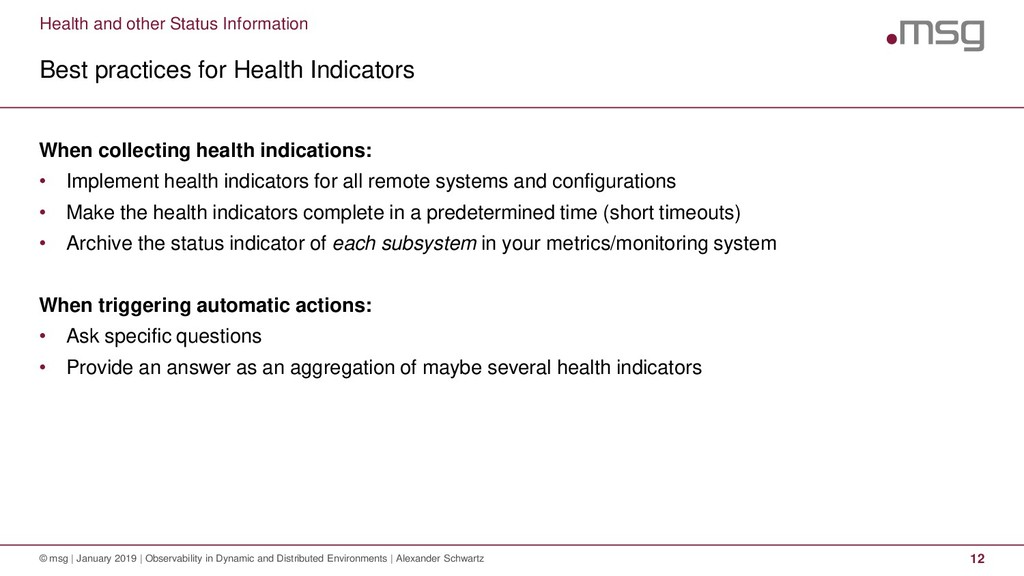 Health and other Status Information Best practi...