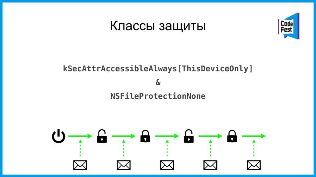 Классы защиты kSecAttrAccessibleAlways[ThisDevi...