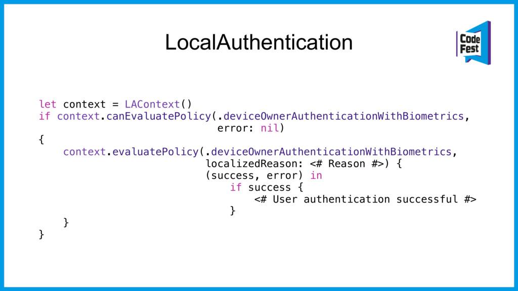 LocalAuthentication let context = LAContext() i...