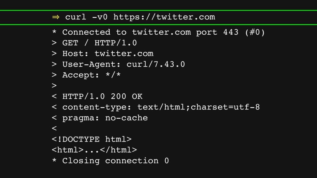 㱺 curl -v0 https://twitter.com * Connected to t...