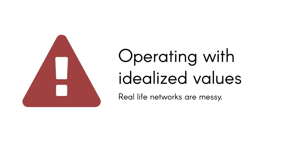 Operating with idealized values Real life netwo...