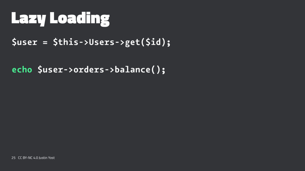 Lazy Loading $user = $this->Users->get($id); ec...