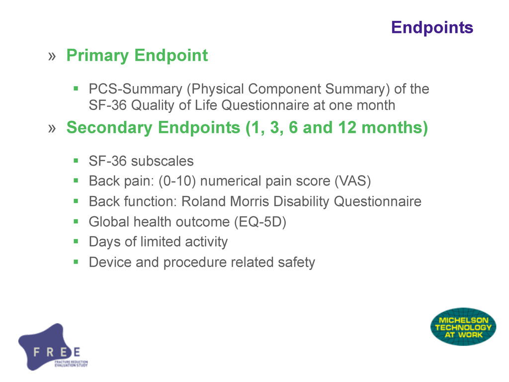 » Primary Endpoint  PCS-Summary (Physical Comp...