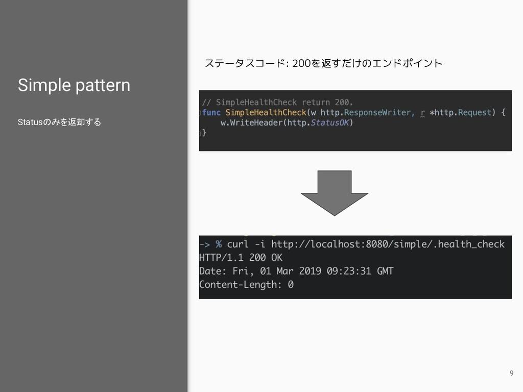 Simple pattern Statusのみを返却する 9 ステータスコード: 200を返す...