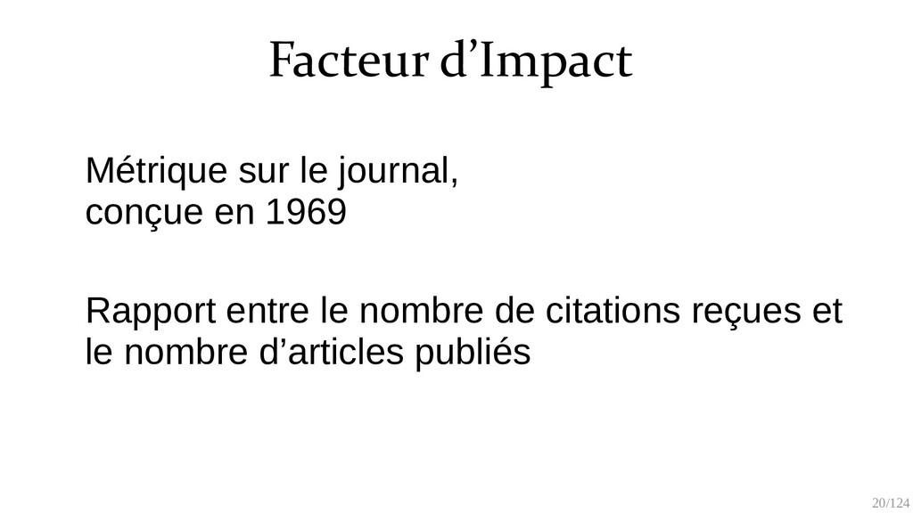 20/125 Facteur d'Impact Métrique sur le journal...