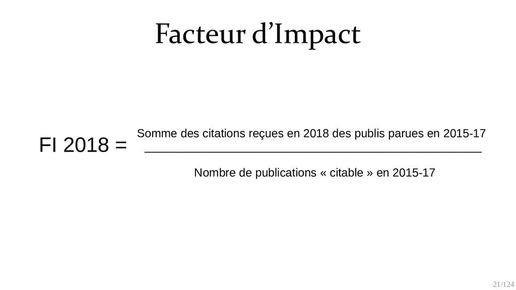 21/125 Facteur d'Impact FI 2018 = Somme des cit...