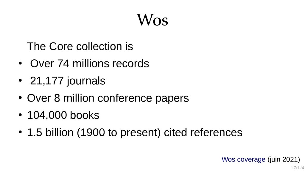 27/125 Wos The Core collection is ● Over 74 mil...