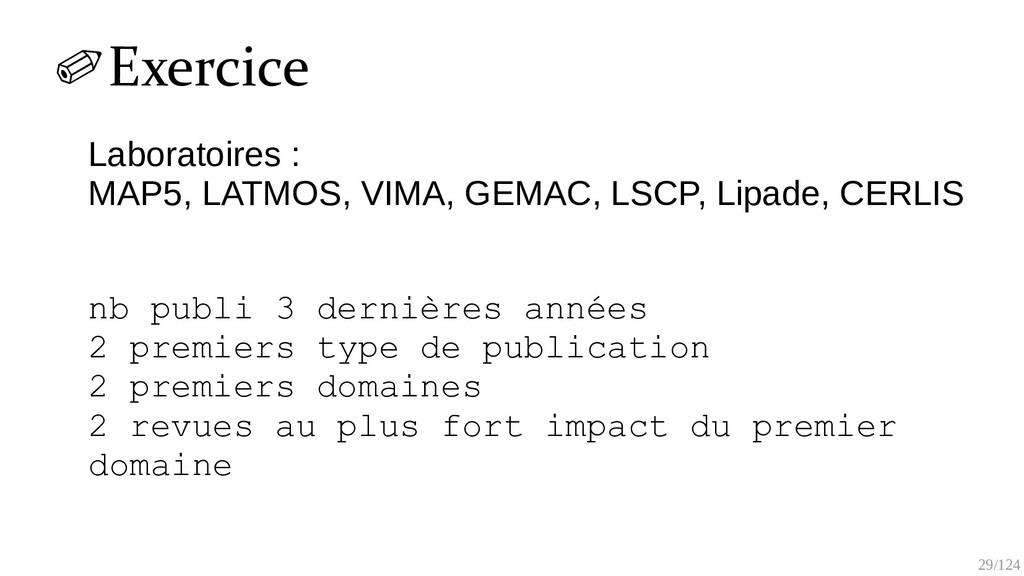 29/125 ✐Exercice Labo : LMV, LATMOS, VIMA, GEMA...