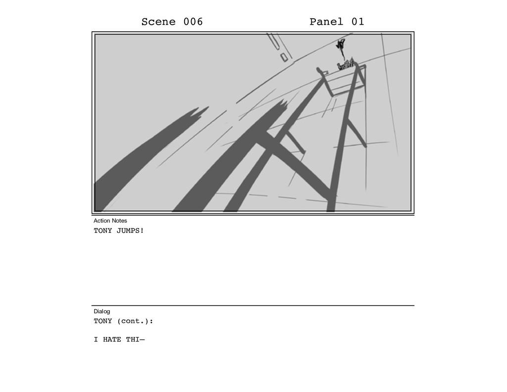 TONY JUMPS! TONY (cont.): I HATE THI– Scene 006...