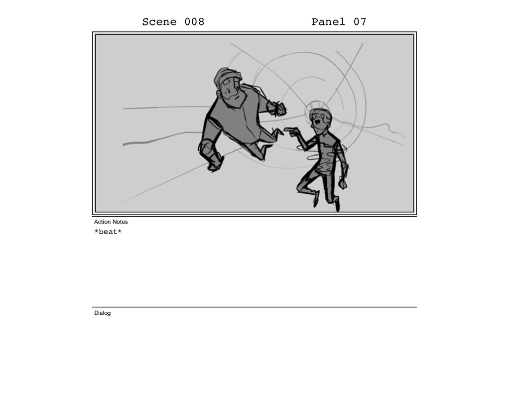 *beat* Scene 008 Panel 07 Dialog Action Notes
