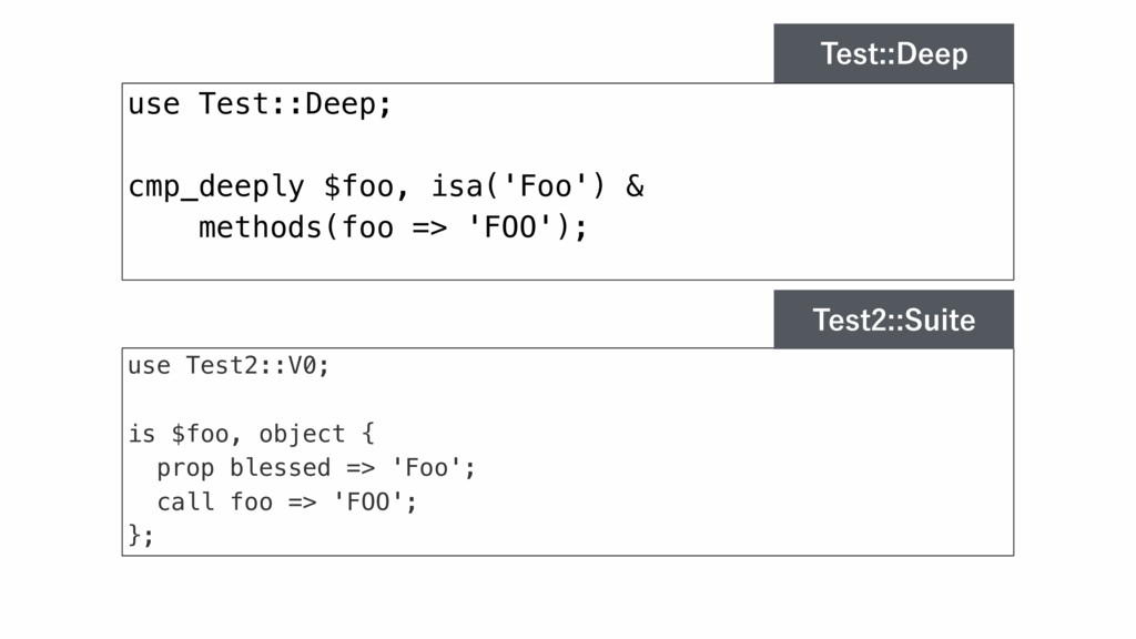 use Test::Deep; cmp_deeply $foo, isa('Foo') & m...