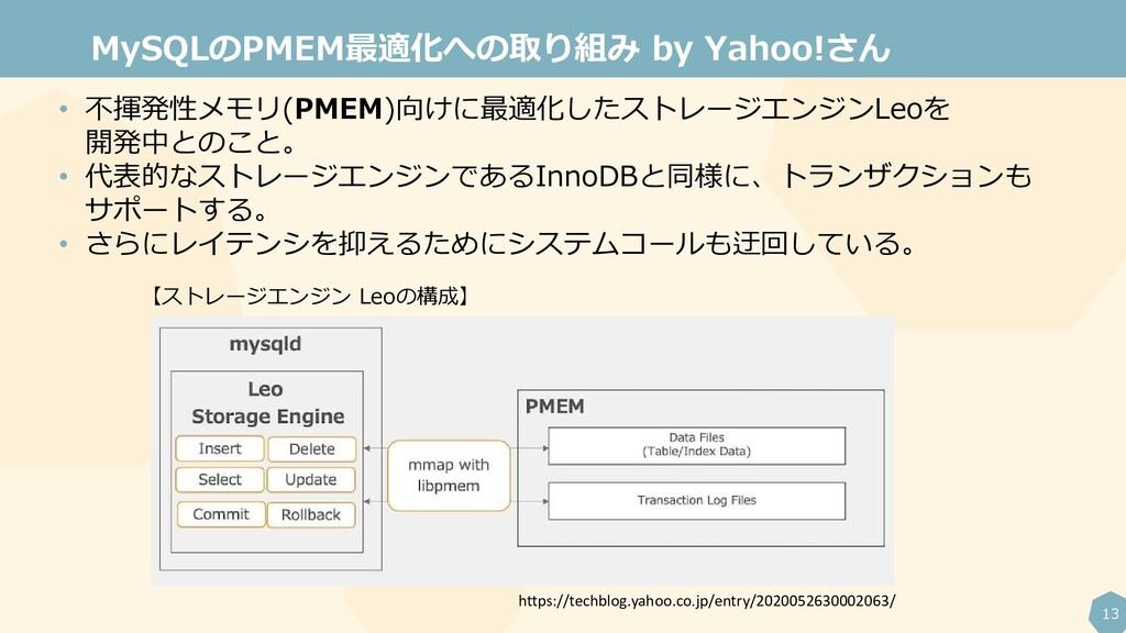 13 MySQLのPMEM最適化への取り組み by Yahoo!さん • 不揮発性メモリ(PM...