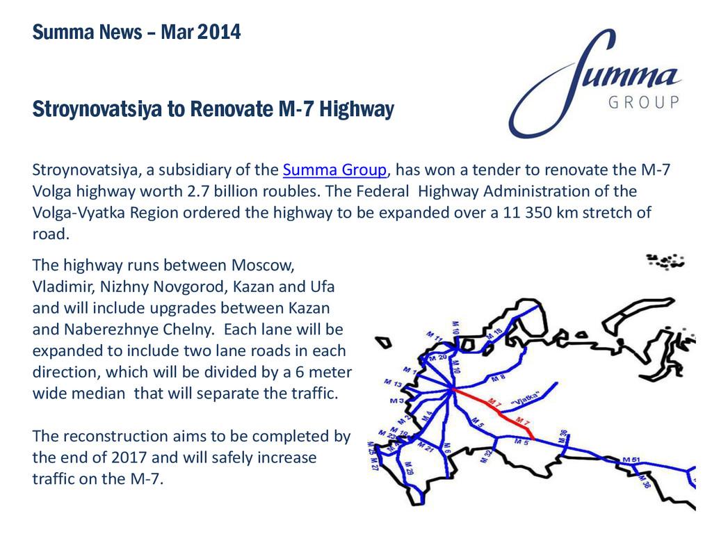 Stroynovatsiya to Renovate M-7 Highway Stroynov...