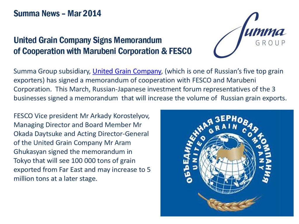 United Grain Company Signs Memorandum of Cooper...