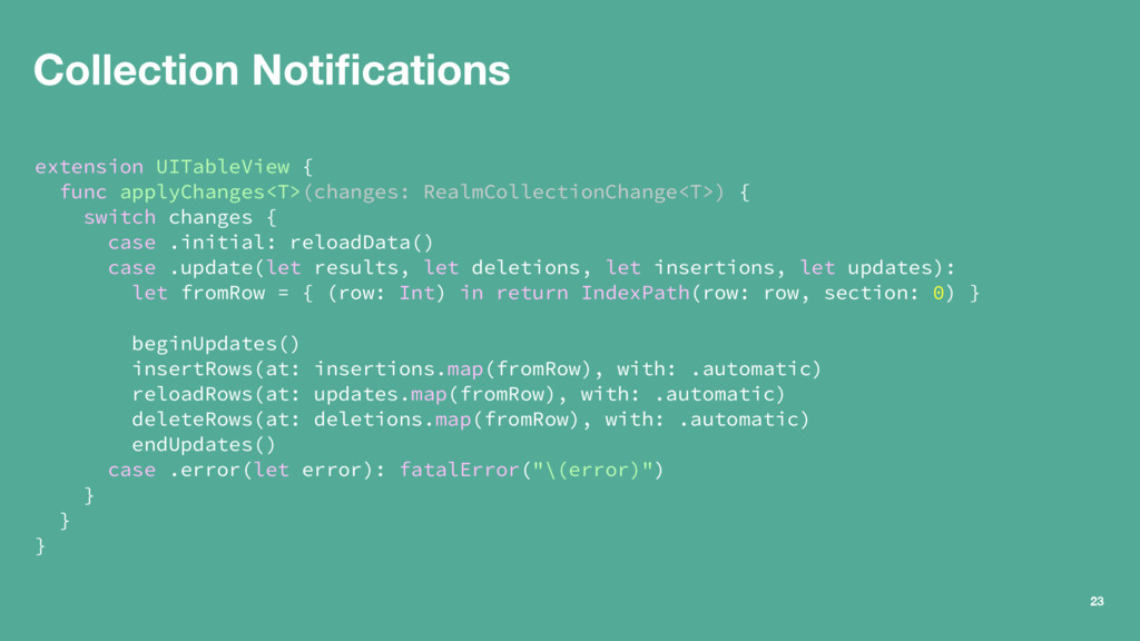 Collection Notifications extension UITableView {...