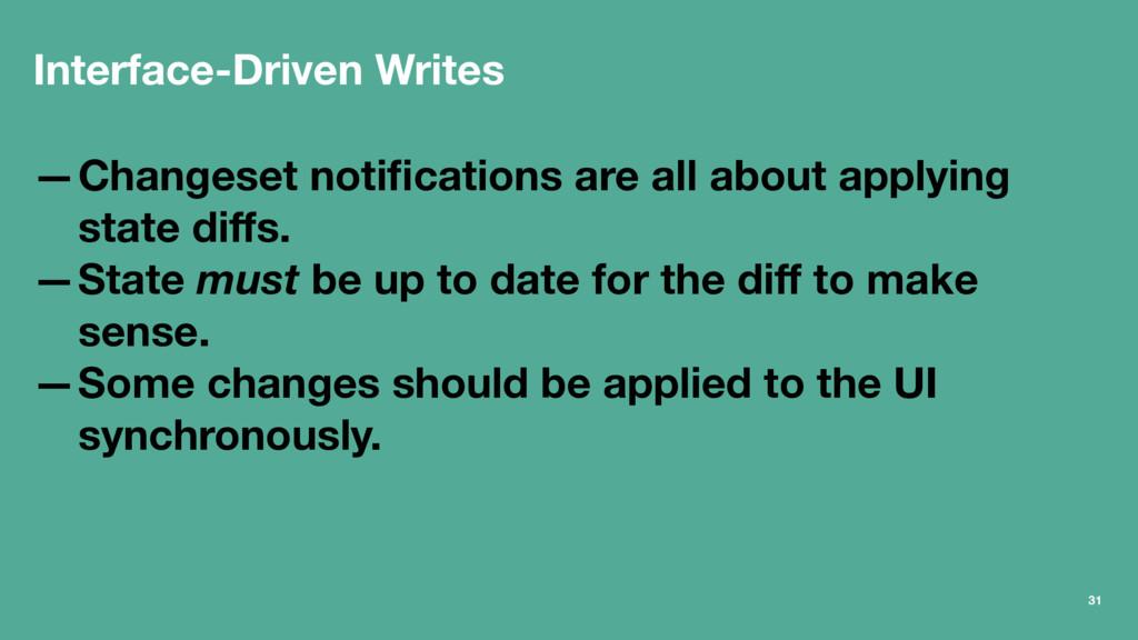 Interface-Driven Writes —Changeset notifications...