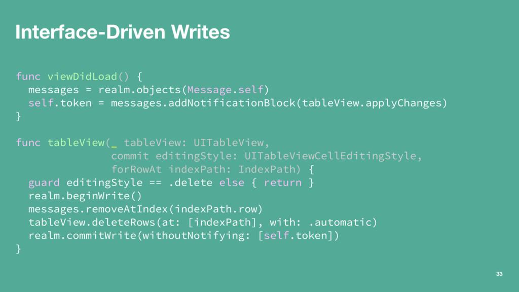 Interface-Driven Writes func viewDidLoad() { me...