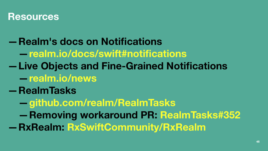 Resources —Realm's docs on Notifications —realm....