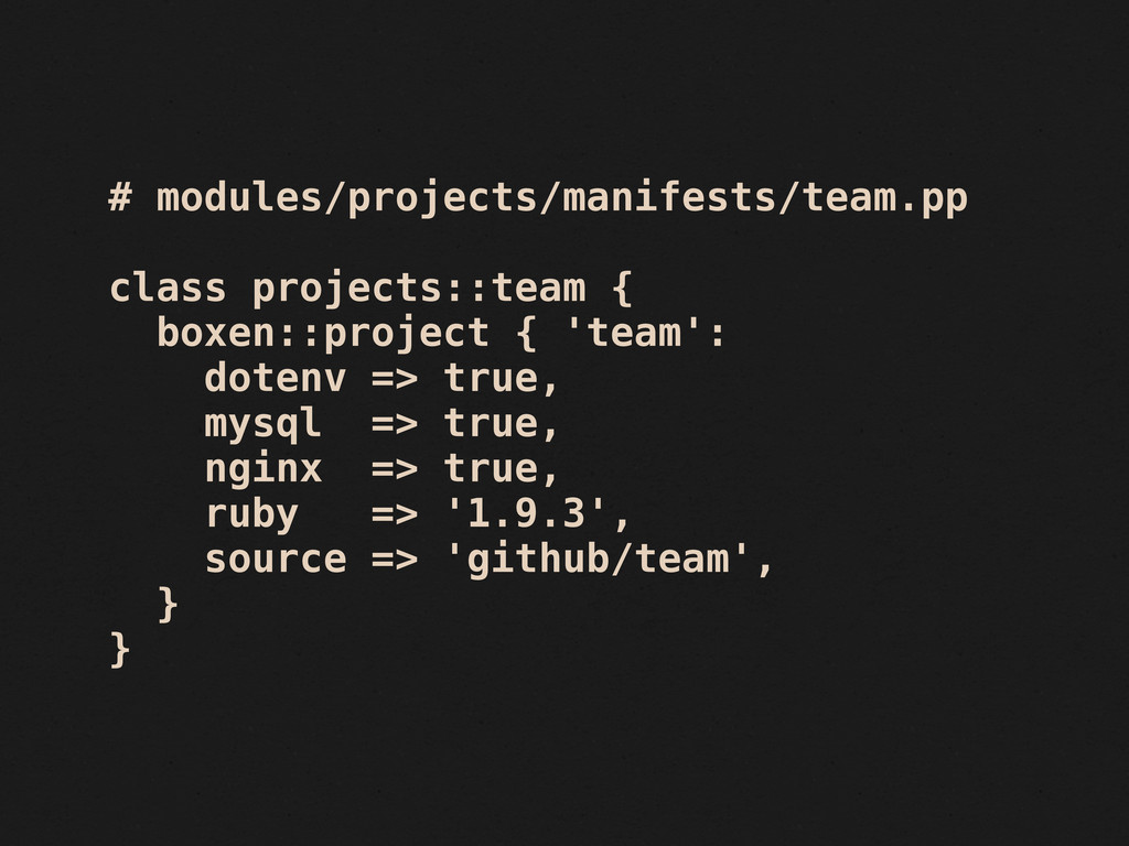 # modules/projects/manifests/team.pp class proj...