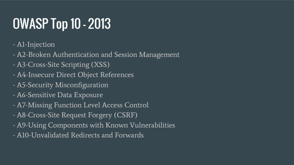 OWASP Top 10 – 2013 - A1-Injection - A2-Broken ...
