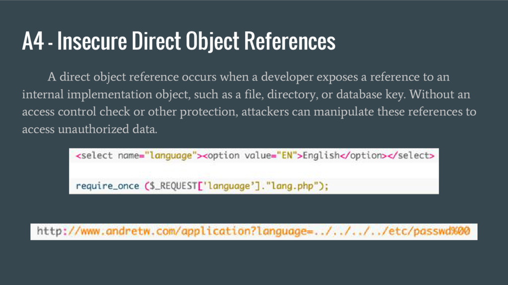 A4 – Insecure Direct Object References A direct...