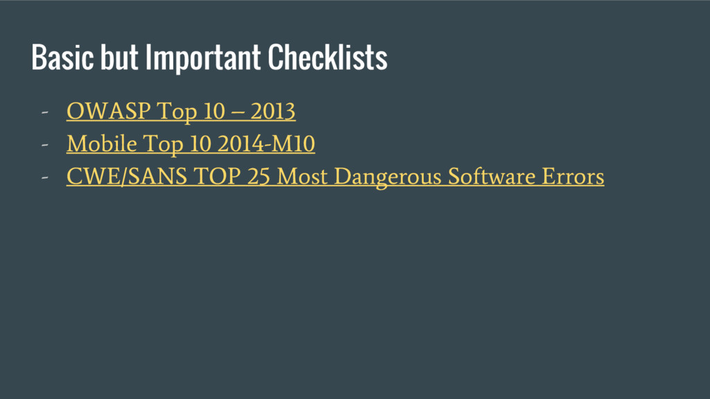 Basic but Important Checklists - OWASP Top 10 –...