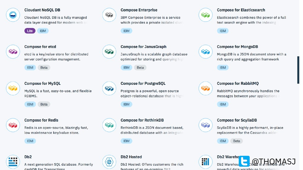 Some of IBM Cloud DBaaS… @THOMASJ