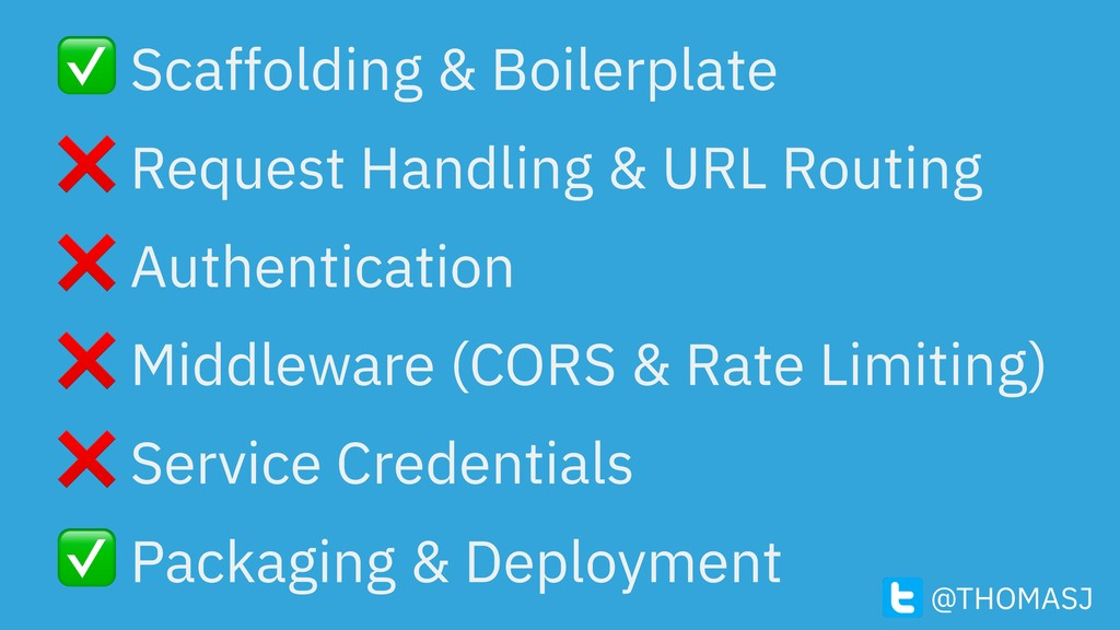 ✅ Scaffolding & Boilerplate ❌ Request Handling ...