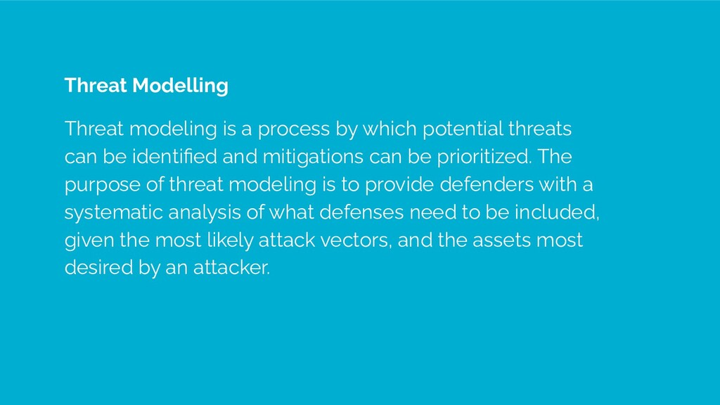 Threat Modelling Threat modeling is a process b...