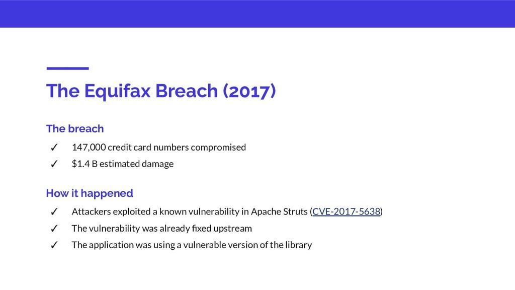 The Equifax Breach (2017) The breach ✓ 147,000 ...