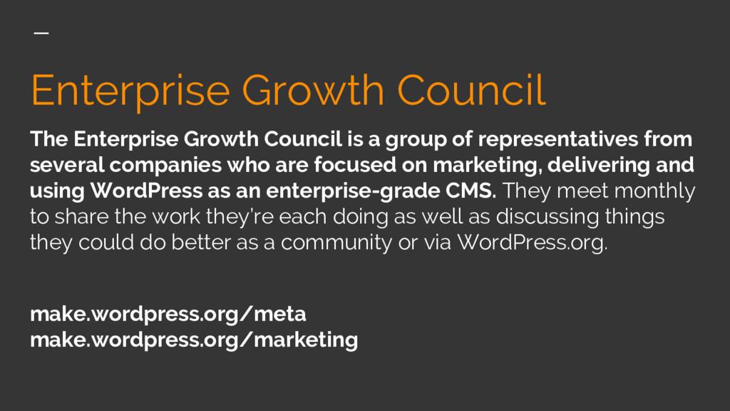 Enterprise Growth Council The Enterprise Growth...