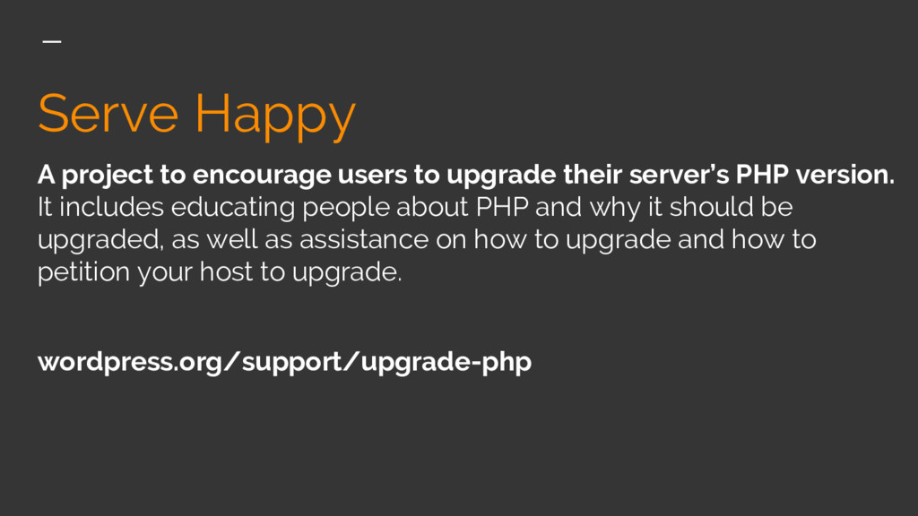 Serve Happy A project to encourage users to upg...