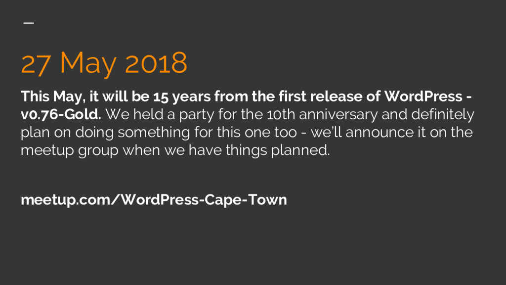 27 May 2018 This May, it will be 15 years from ...