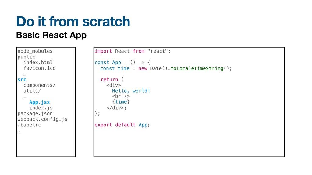 Do it from scratch Basic React App node_mobules...