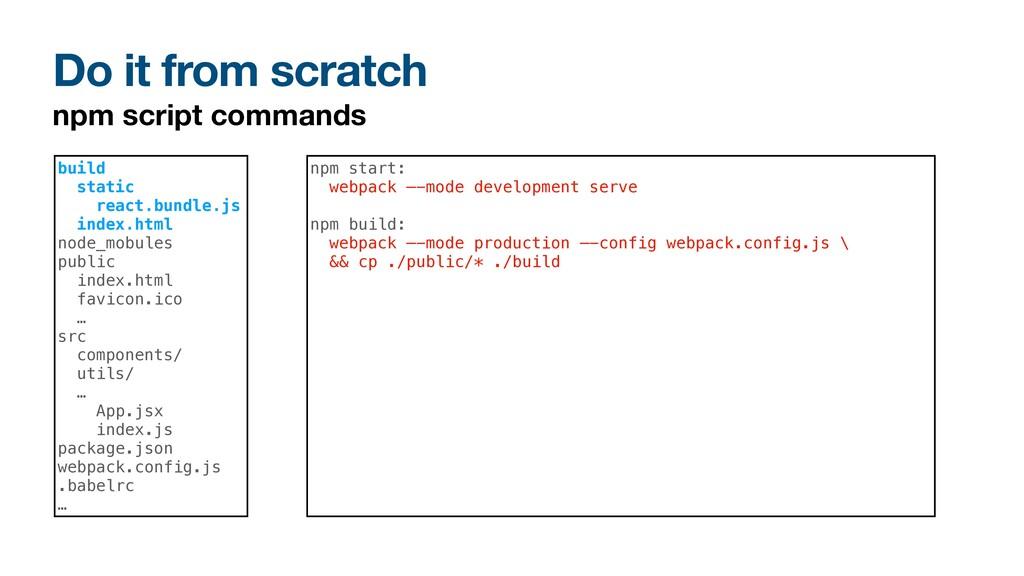 Do it from scratch npm script commands build st...
