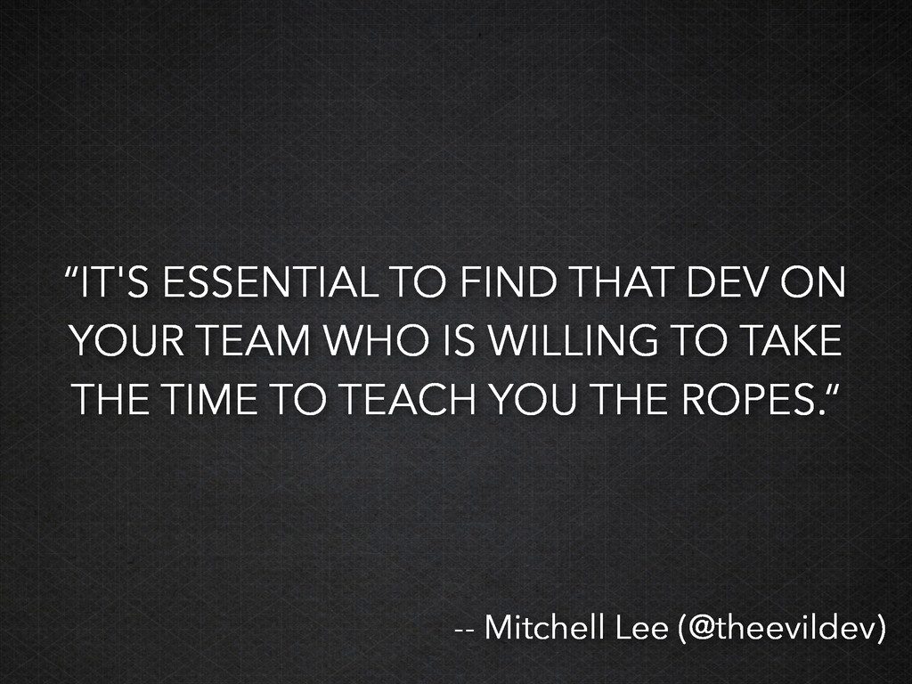 """""""IT'S ESSENTIAL TO FIND THAT DEV ON YOUR TEAM W..."""