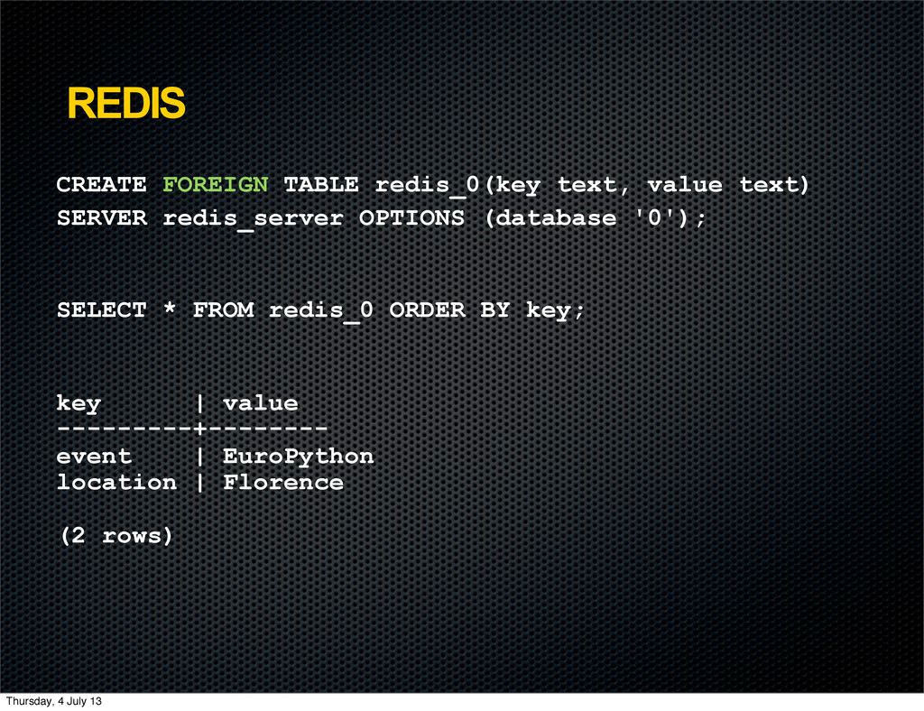 REDIS CREATE FOREIGN TABLE redis_0(key text, va...