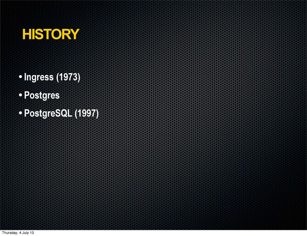 HISTORY • Ingress (1973) • Postgres • PostgreSQ...