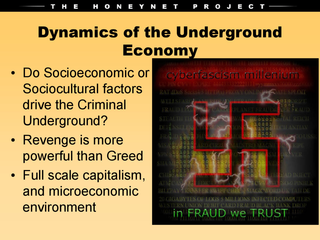 Dynamics of the Underground Economy • Do Socioe...