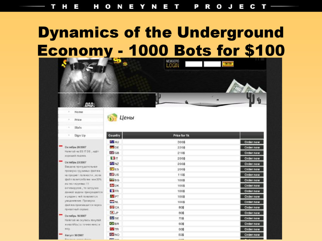 Dynamics of the Underground Economy - 1000 Bots...