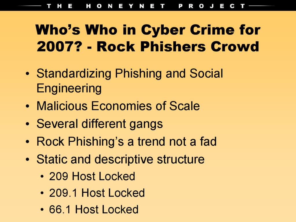 Who's Who in Cyber Crime for 2007? - Rock Phish...