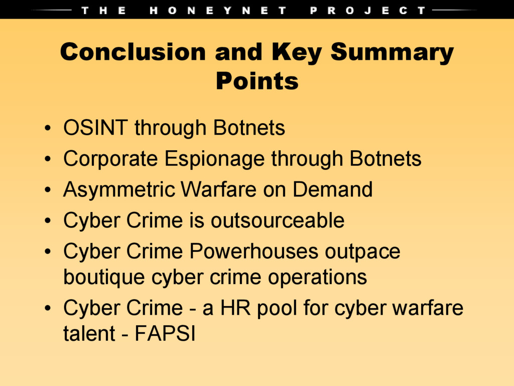 Conclusion and Key Summary Points • OSINT throu...