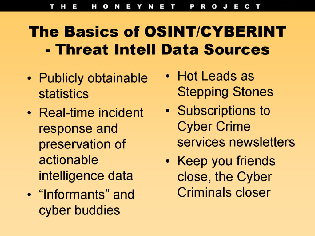 The Basics of OSINT/CYBERINT - Threat Intell Da...