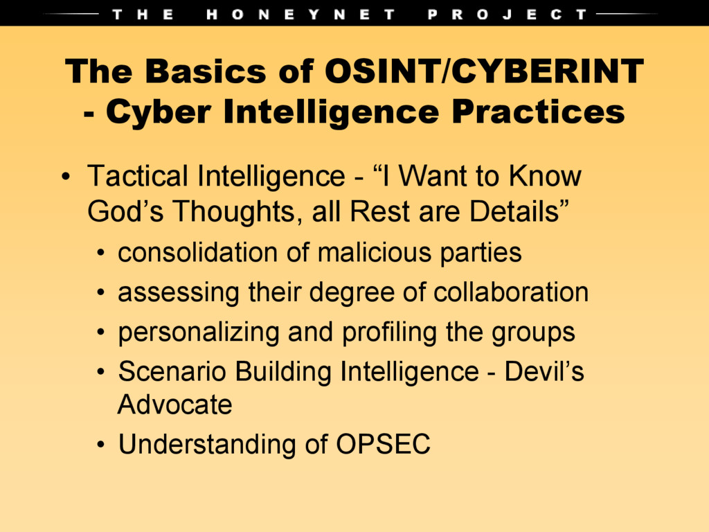 The Basics of OSINT/CYBERINT - Cyber Intelligen...
