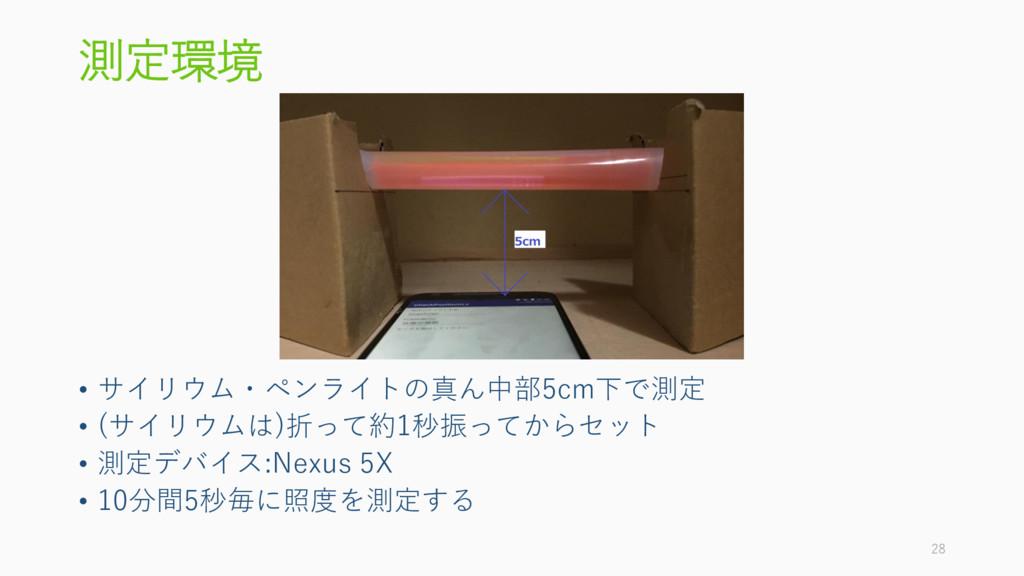 測定環境 • サイリウム・ペンライトの真ん中部5cm下で測定 • (サイリウムは)折って約1秒...
