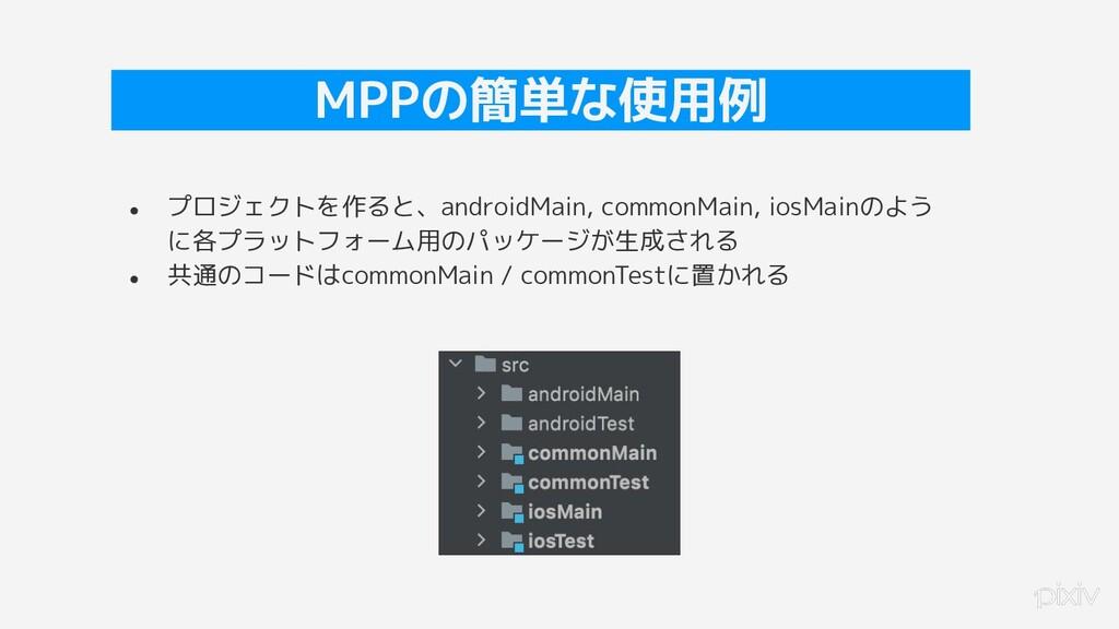 21 MPPの簡単な使用例 ● プロジェクトを作ると、androidMain, commonM...