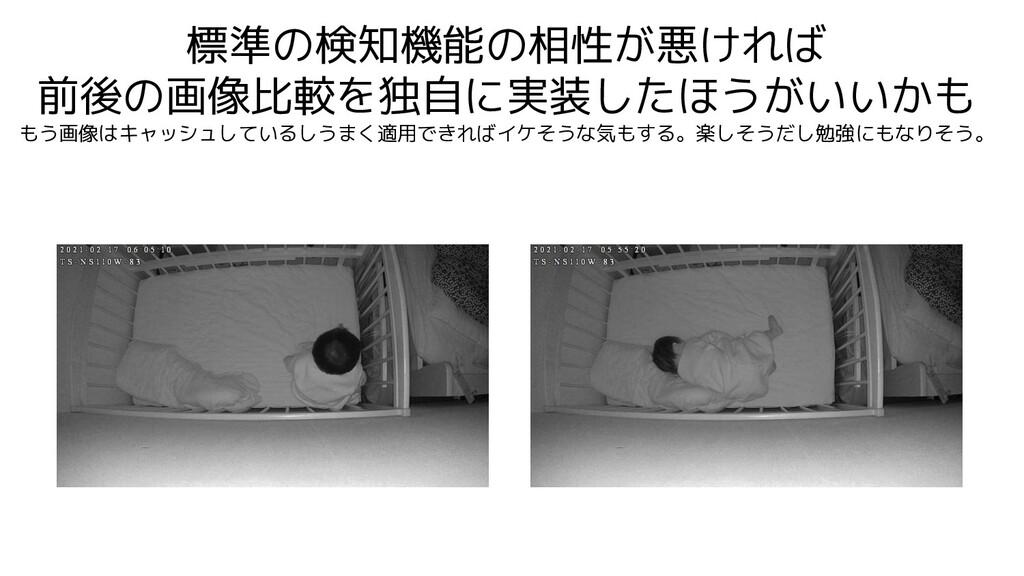 標準の検知機能の相性が悪ければ 前後の画像比較を独自に実装したほうがいいかも もう画像はキャッ...
